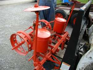 This is a picture of a corn planter that sold at the auction in Bloomington, IL. It sold for $650.00!